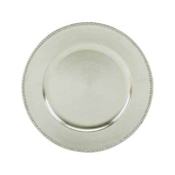 """Silver Beaded Charger Plate 13"""""""