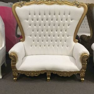 Throne Loveseat White and Gold